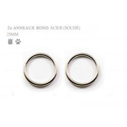 2 x 25mm Anneaux ronds / Métal / Soudé / Nickel