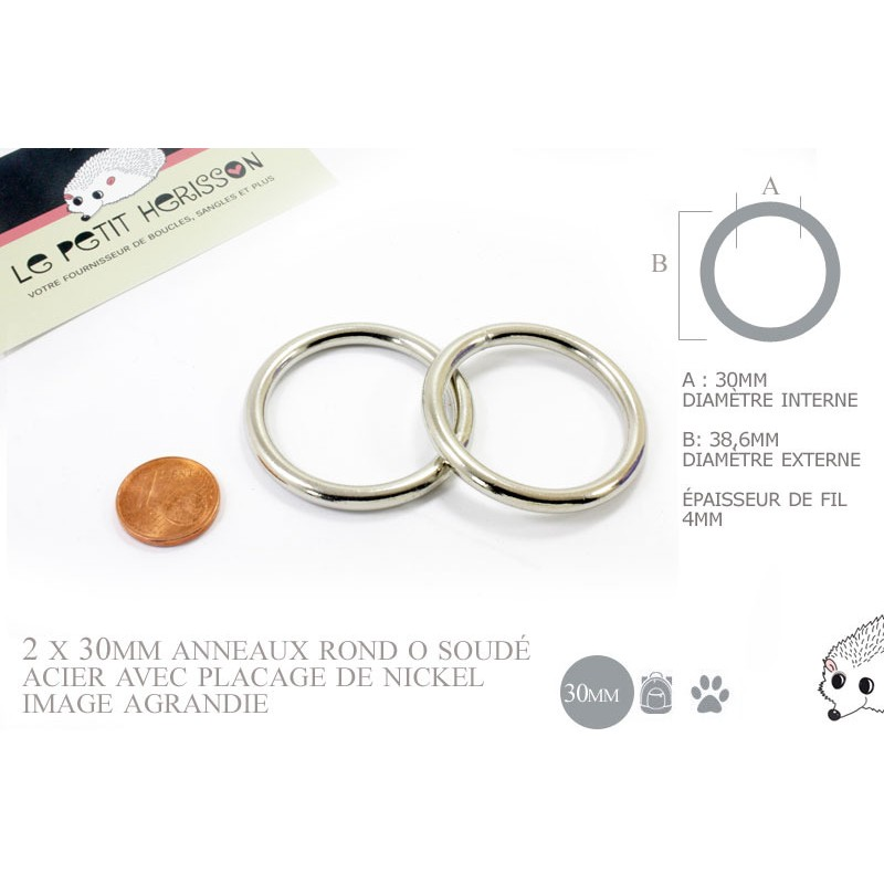 2 x 30mm Anneaux ronds / Métal / Soudé / Nickel