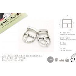 2 x 15mm Boucles de ceintures / Métal / Argente / Pour les Chaussures