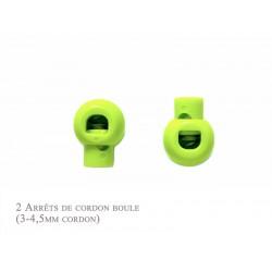 2 Arrêts de cordon / Boule / Plastique / Vert Flou
