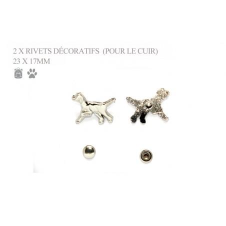 2 rivets décoratifs chiens - beagles - pour le cuir