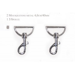 2 x 40mm Mousquetons Pivotants / Métal / Chrome / Style 1