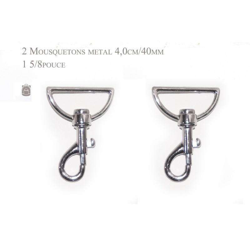 2 x 40mm Mousquetons Pivotants / Métal / Chrome / Style 1