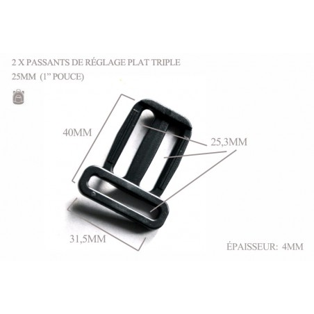 2 x 25mm Passants De Réglage /Triple / Plastique /  Plat / Noir