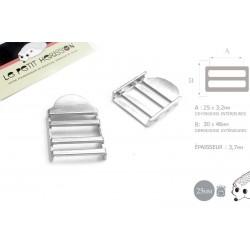 2 x 25mm Boucles de Règlage / Boucles de Serrage / Metal / Argente