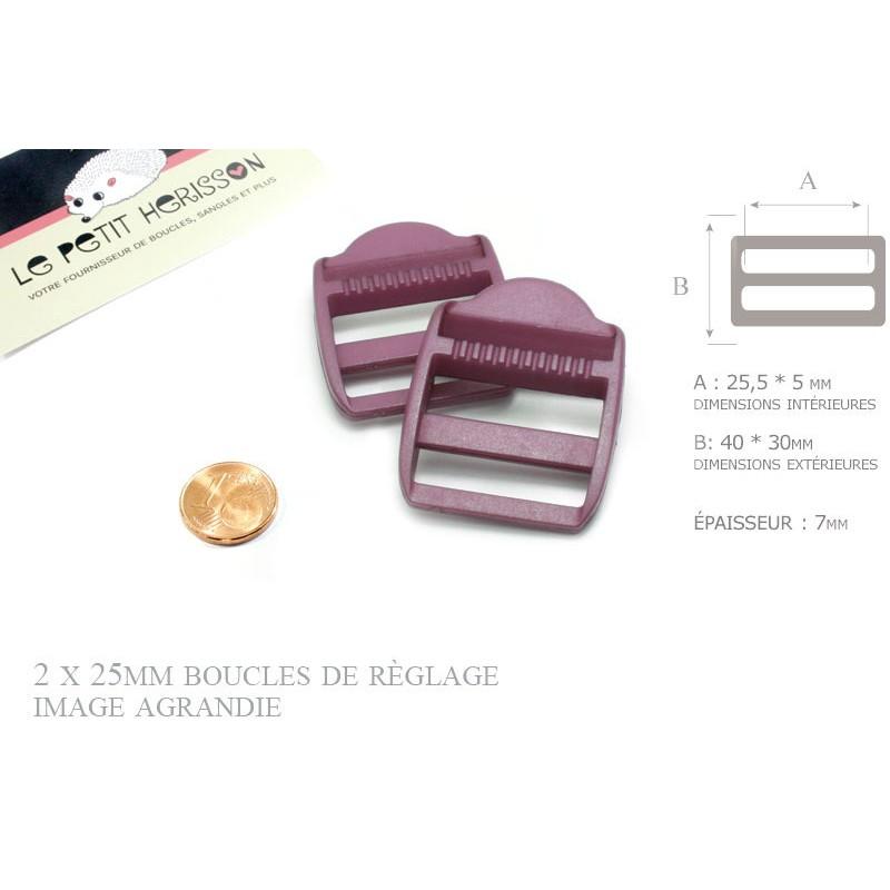 2 x 25mm Boucles de Règlage / Boucles de Serrage / Plastique / Prune