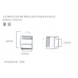 2 x 25mm Boucles de Règlage / Boucles de Serrage / Plastique / Blanc