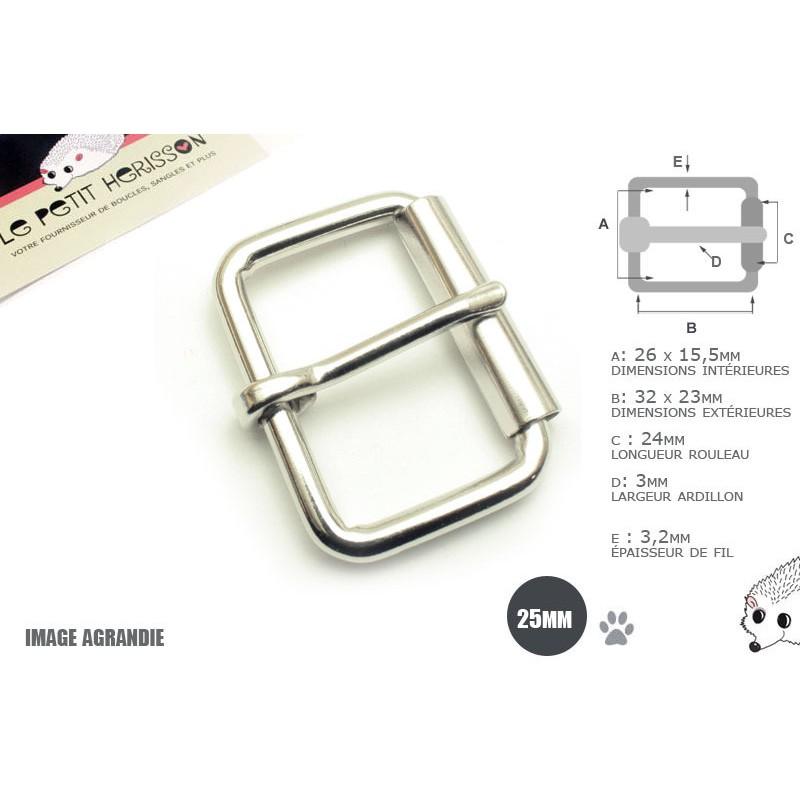 2 x 25mm Boucles à rouleau / Métal / Nickel
