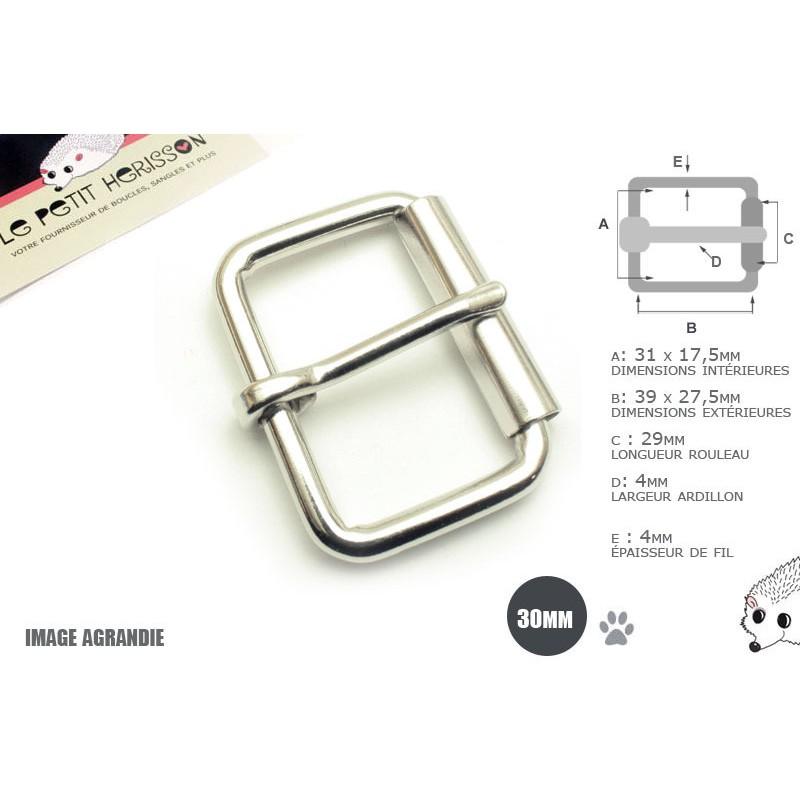 2 x 30mm Boucles à rouleau / Métal / Nickel