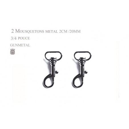 2 x 20mm Mousquetons Pivotants / Métal / Gunmetal  / Style 1