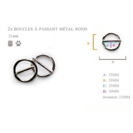 2 x 25mm Boucles Coulisse / Passants Doubles / Métal / Rond / Nickel