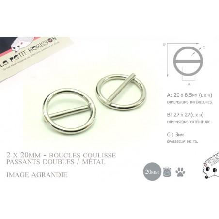 2 x 20mm Boucles Coulisse / Passants Doubles / Métal / Rond / Nickel
