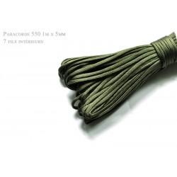 1m x 4mm Paracorde 550 / 10 uni / vert militaire