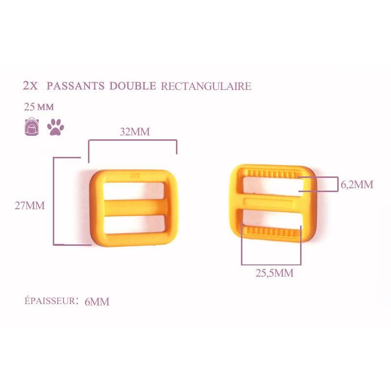 2 x 25mm Boucles Coulisse / Passants Doubles / Plastique / Rectangulaire / Jaune