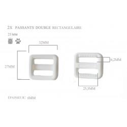 2 x 25mm Boucles Coulisse / Passants Doubles / Plastique / Rectangulaire / Blanc