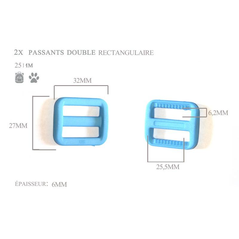 2 x 25mm Boucles Coulisse / Passants Doubles / Plastique / Rectangulaire / Bleu Clair