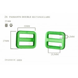 2 x 25mm Boucles Coulisse / Passants Doubles / Plastique / Rectangulaire / Vert
