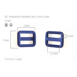 2 x 25mm Boucles Coulisse / Passants Doubles / Plastique / Rectangulaire / Bleu