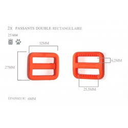 2 x 25mm Boucles Coulisse / Passants Doubles / Plastique / Rectangulaire / Orange