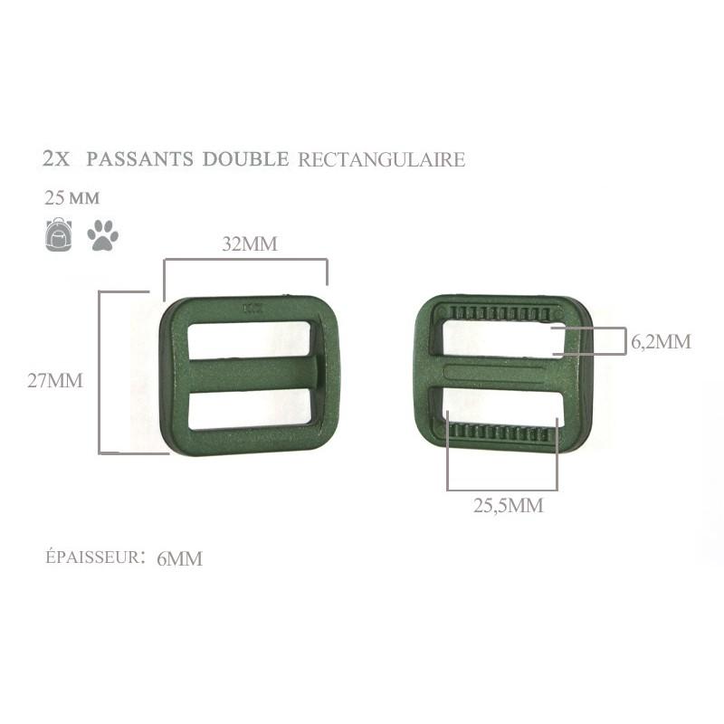 2 x 25mm Boucles Coulisse / Passants Doubles / Plastique / Rectangulaire / Vert Fonce