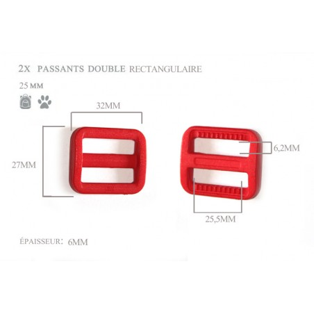 2 x 25mm Boucles Coulisse / Passants Doubles / Plastique / Rectangulaire / Rouge