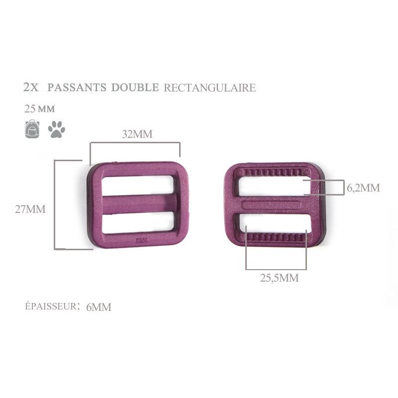2 x 25mm Boucles Coulisse / Passants Doubles / Plastique / Rectangulaire / Prune