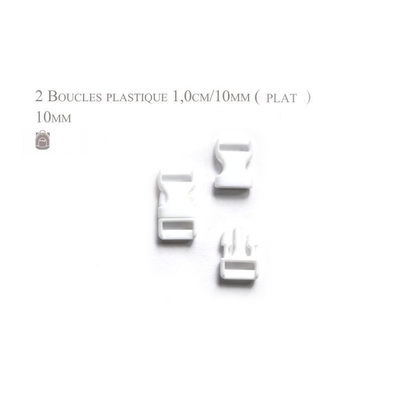 2 x 10mm Boucles plastique attache rapide - plat - blanc