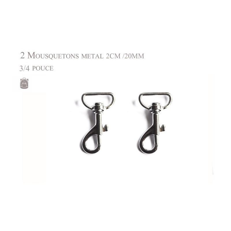 2 x 20mm Mousquetons Pivotants / Métal / Chrome / Style 1