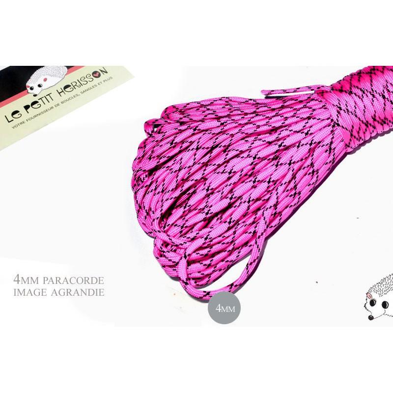 1m x 4mm Paracorde 550 / 58 motif / rose noir