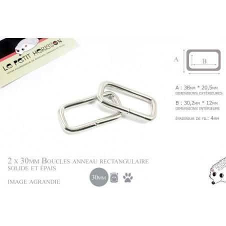 2 x 30mm Anneaux Rectangulaires / Passants Simples / Métal / Nickel