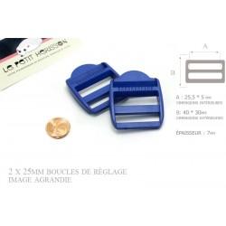 2 x 25mm Boucles de Règlage / Boucles de Serrage / Plastique / Bleu