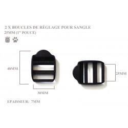 2 x 25mm Boucles de Règlage / Boucles de Serrage / Plastique / Noir