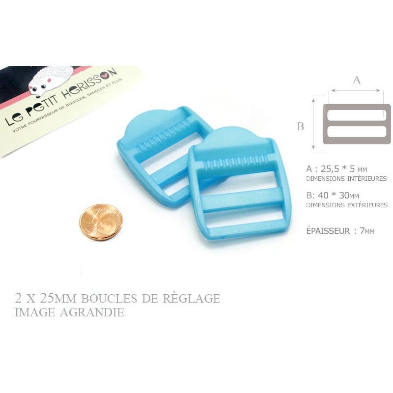2 x 25mm Boucles de Règlage / Boucles de Serrage / Plastique / Bleu Clair