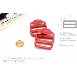 2 x 25mm Boucles de Règlage / Boucles de Serrage / Plastique / Rouge
