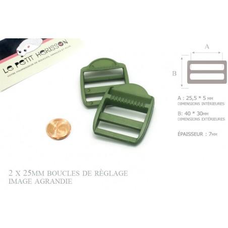2 x 25mm Boucles de Règlage / Boucles de Serrage / Plastique / Vert Millitaire