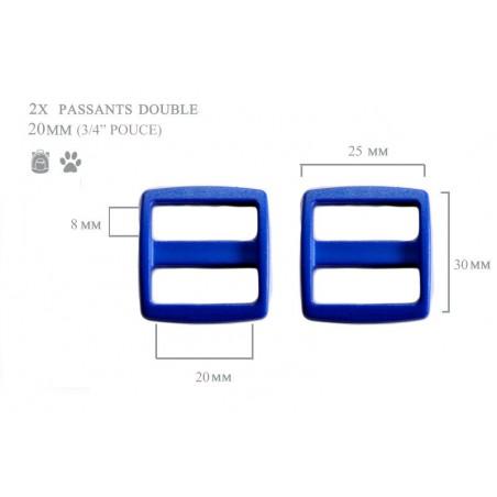 2 x 20mm Boucles Coulisse / Passants Doubles / Bleu / Plastique
