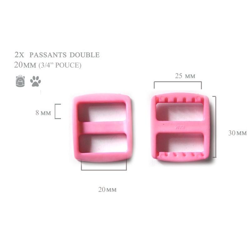 2 x 20mm Boucles Coulisse / Passants Doubles / Rose Clair / Plastique