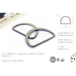 2 x 50mm Anneaux demi lunes / Metal /  Moulé / Plat / Gunmetal