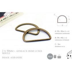 2 x 50mm Anneaux demi lunes / Metal /  Moulé / Plat / Bronze Antique