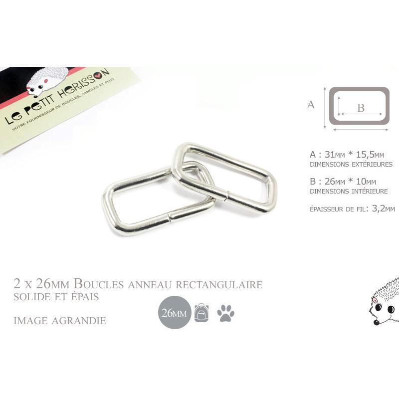 2 x 25mm Anneaux Rectangulaires / Passants Simples / Métal / Nickel