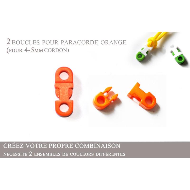 2 x 5mm Clips pour Paracorde / Plat / Orange