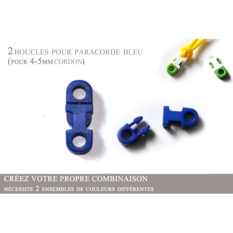 2 x 5mm Clips pour Paracorde / Plat / Bleu