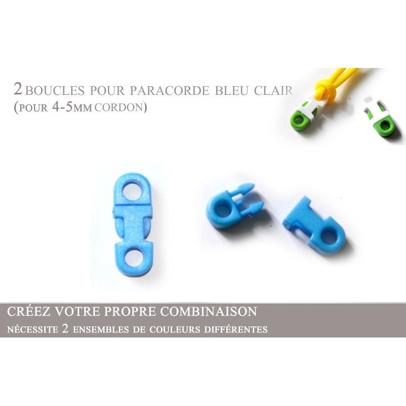 2 x 5mm Clips pour Paracorde / Plat / Bleu Clair