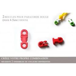 2 x 5mm Clips pour Paracorde / Plat / Rouge