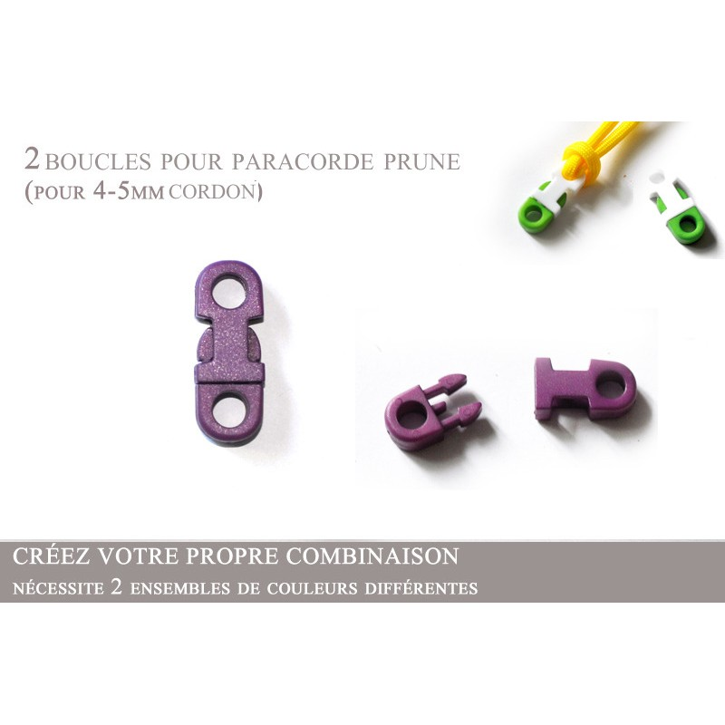 2 x 5mm Clips pour Paracorde / Plat / Prune