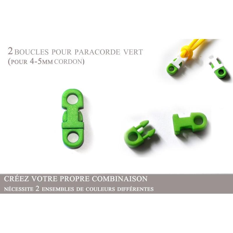 2 x 5mm Clips pour Paracorde / Plat / Vert