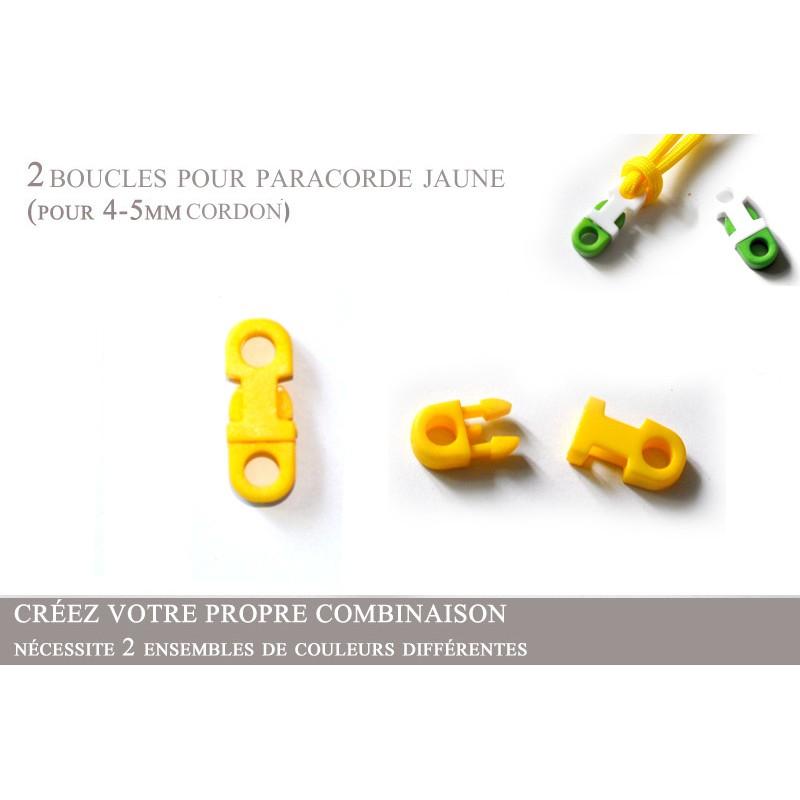 2 x 5mm Clips pour Paracorde / Plat / Jaune