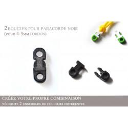 2 x 5mm Clips pour Paracorde / Plat / Noir