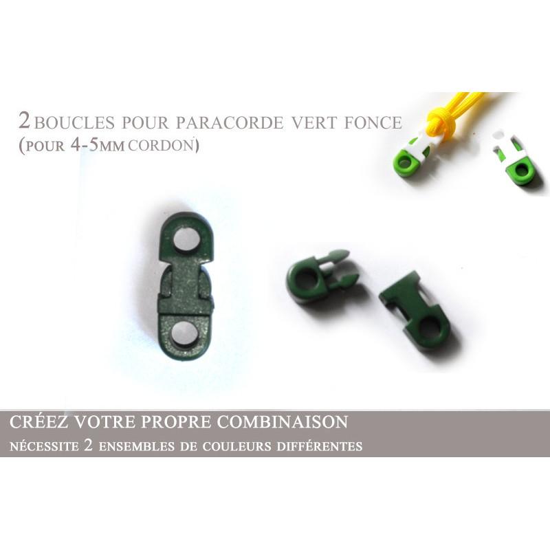 2 x 5mm Clips pour Paracorde / Plat / Vert Fonce