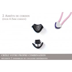 2 Arrêts de cordon / Cœur / Plastique / Noir